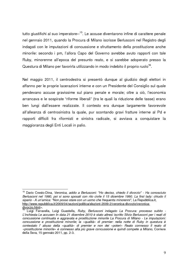Anteprima della tesi: Milano 2011-Italia 2013. Verso la fine della Seconda Repubblica?, Pagina 8