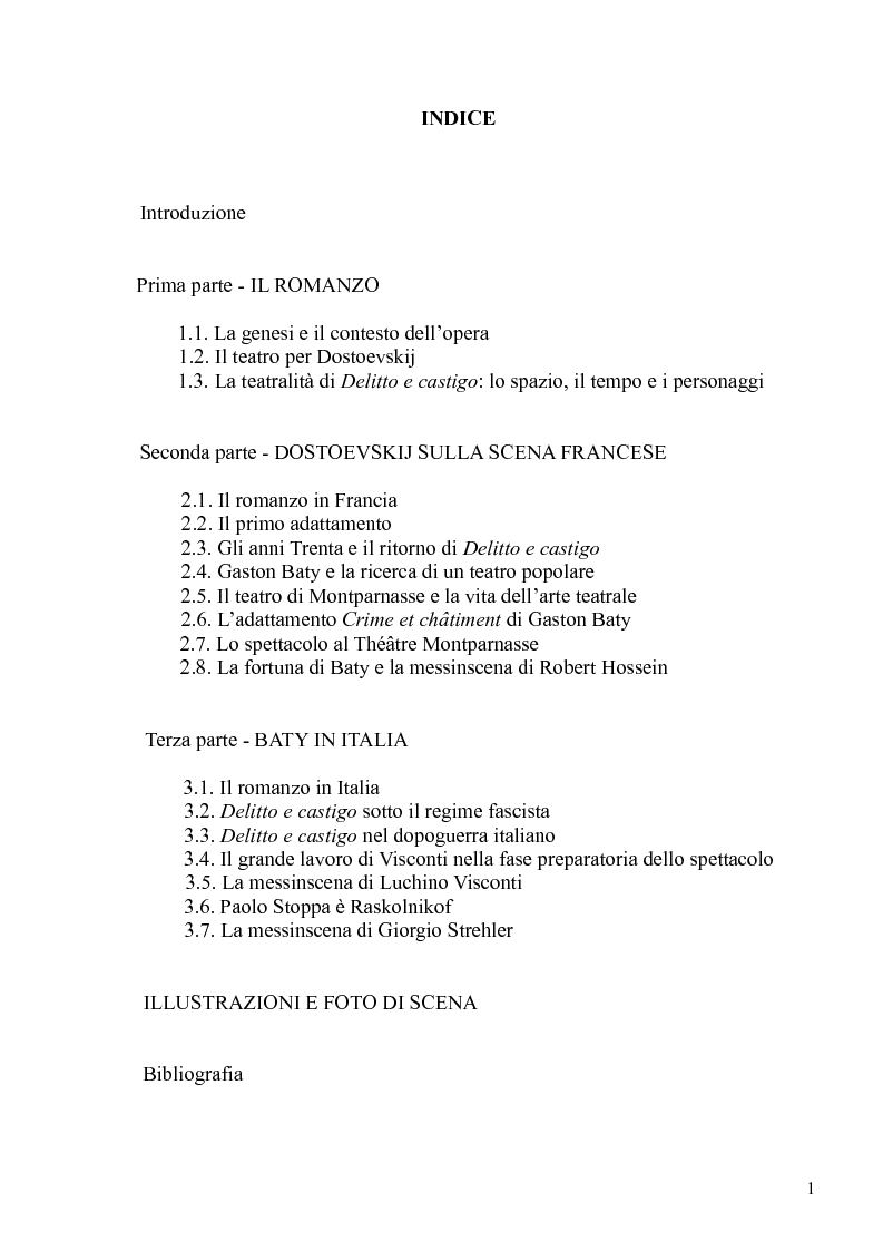 """Indice della tesi: Dostoevskij a teatro: le messinscene di """"Delitto e castigo"""" dalla Francia all'Italia, Pagina 1"""