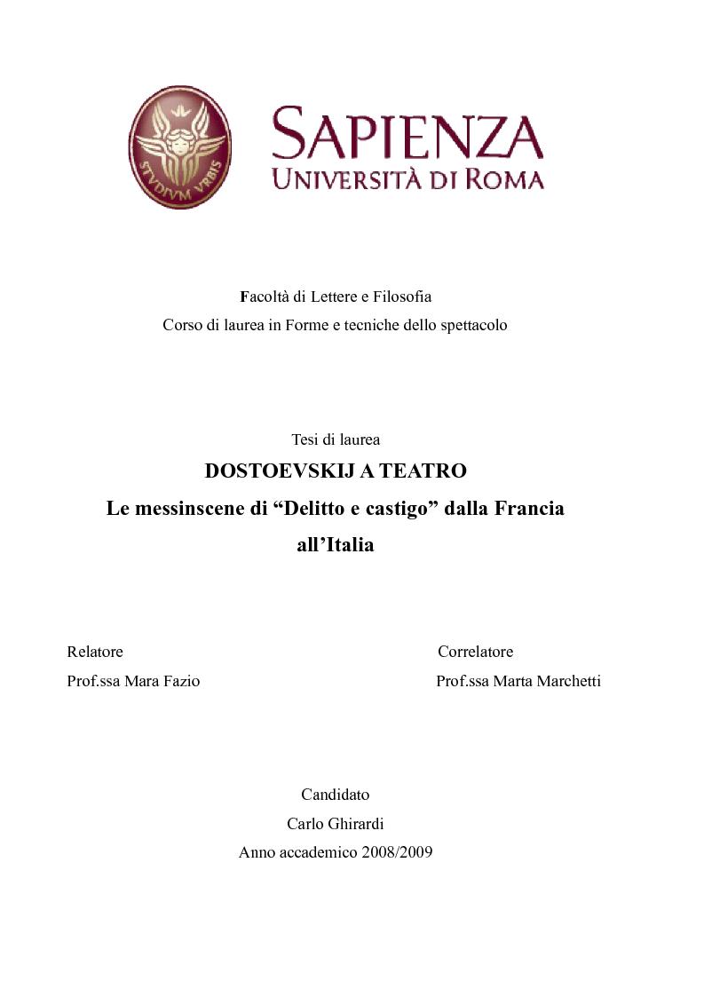 """Anteprima della tesi: Dostoevskij a teatro: le messinscene di """"Delitto e castigo"""" dalla Francia all'Italia, Pagina 1"""