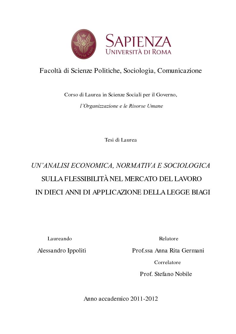 Anteprima della tesi: Un'analisi economica, normativa e sociologica sulla flessibilità nel mercato del lavoro in dieci anni di applicazione della Legge Biagi, Pagina 1