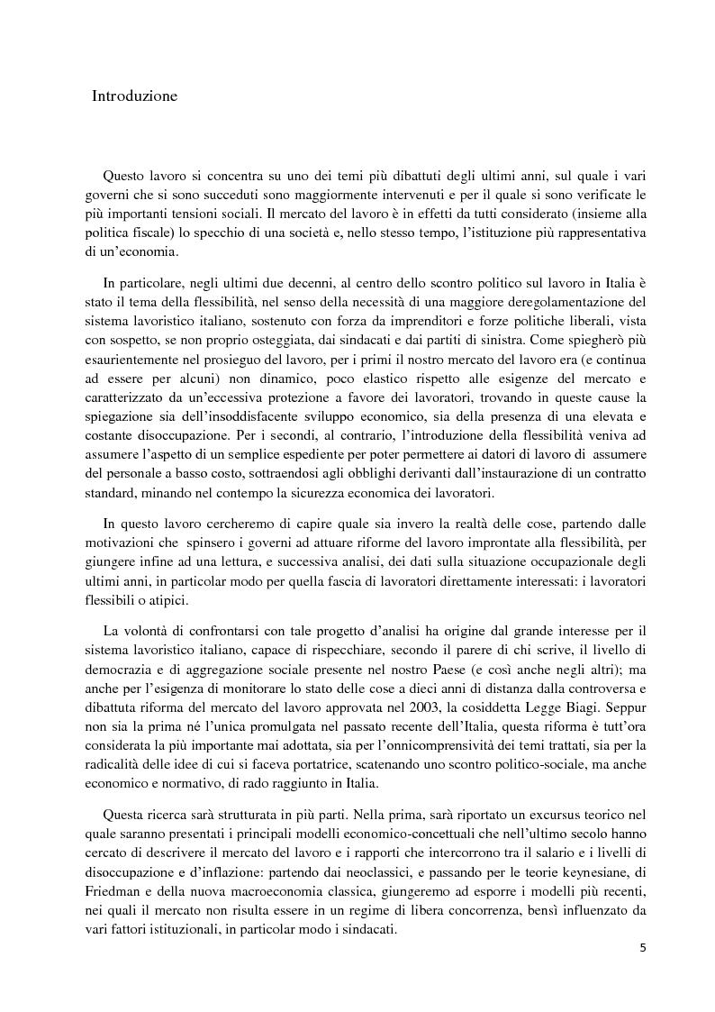 Anteprima della tesi: Un'analisi economica, normativa e sociologica sulla flessibilità nel mercato del lavoro in dieci anni di applicazione della Legge Biagi, Pagina 2