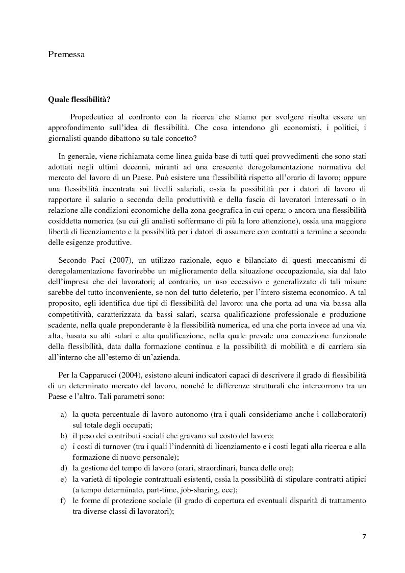 Anteprima della tesi: Un'analisi economica, normativa e sociologica sulla flessibilità nel mercato del lavoro in dieci anni di applicazione della Legge Biagi, Pagina 4