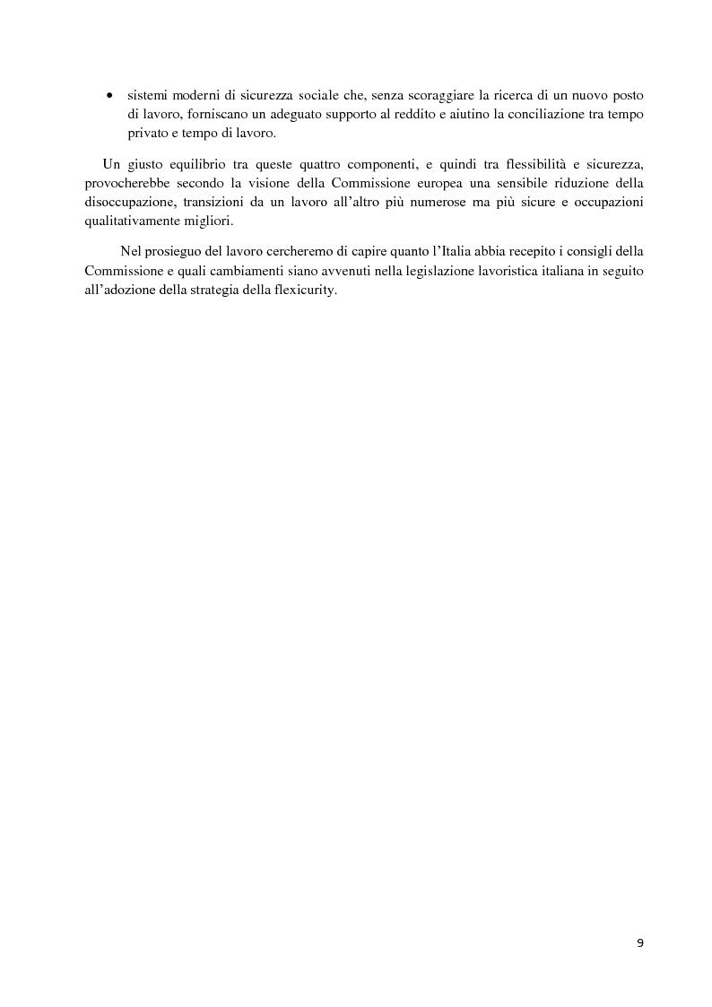 Anteprima della tesi: Un'analisi economica, normativa e sociologica sulla flessibilità nel mercato del lavoro in dieci anni di applicazione della Legge Biagi, Pagina 6