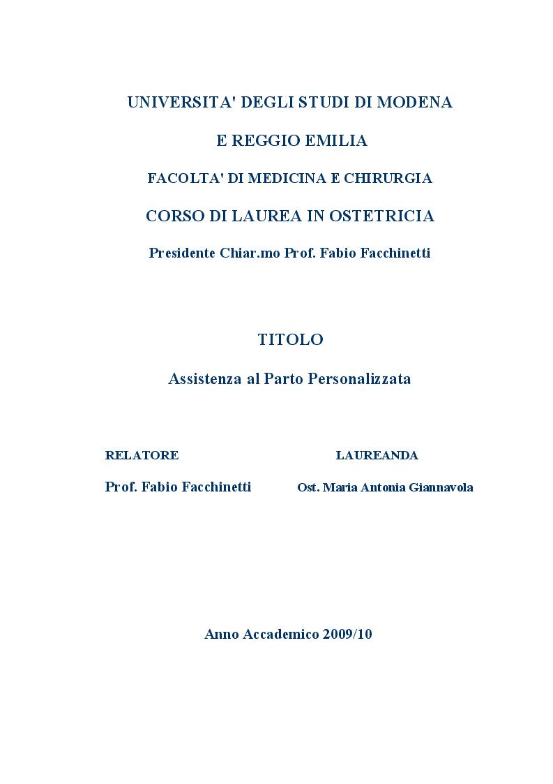 Anteprima della tesi: Assistenza al Parto Personalizzata, Pagina 1