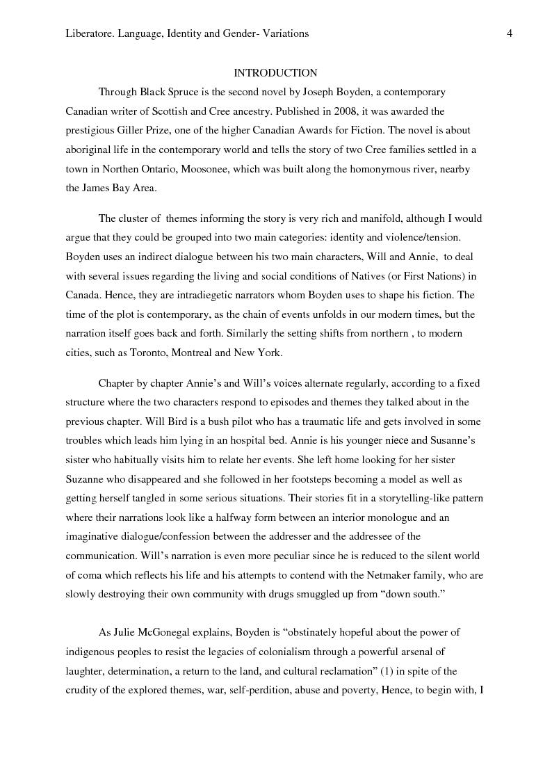 Anteprima della tesi: Language, Identity And Gender- Variations In Joseph Boyden's Through Black Spruce., Pagina 2