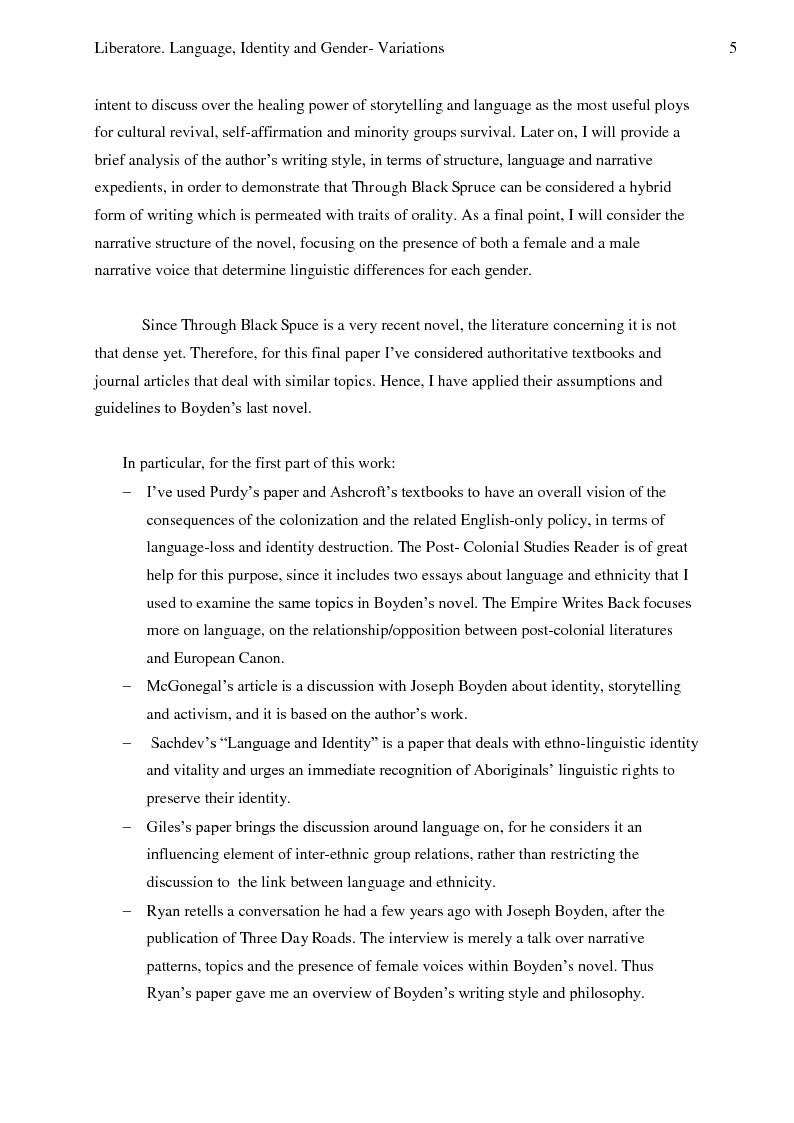 Anteprima della tesi: Language, Identity And Gender- Variations In Joseph Boyden's Through Black Spruce., Pagina 3