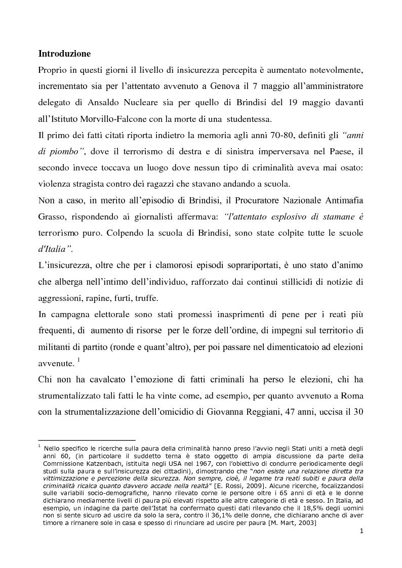 Anteprima della tesi: Il progetto di sicurezza complementare ed i limiti giuridico-operativi degli operatori della vigilanza privata, Pagina 2
