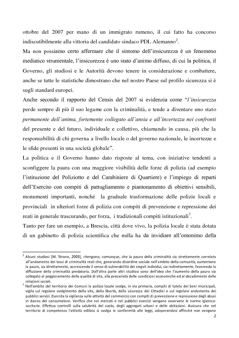 Anteprima della tesi: Il progetto di sicurezza complementare ed i limiti giuridico-operativi degli operatori della vigilanza privata, Pagina 3