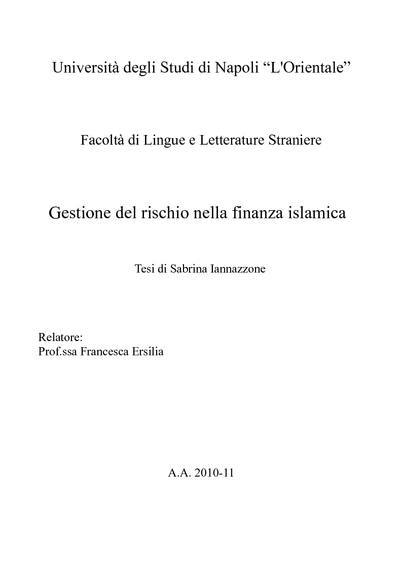 Anteprima della tesi: Gestione del rischio nella finanza islamica , Pagina 1