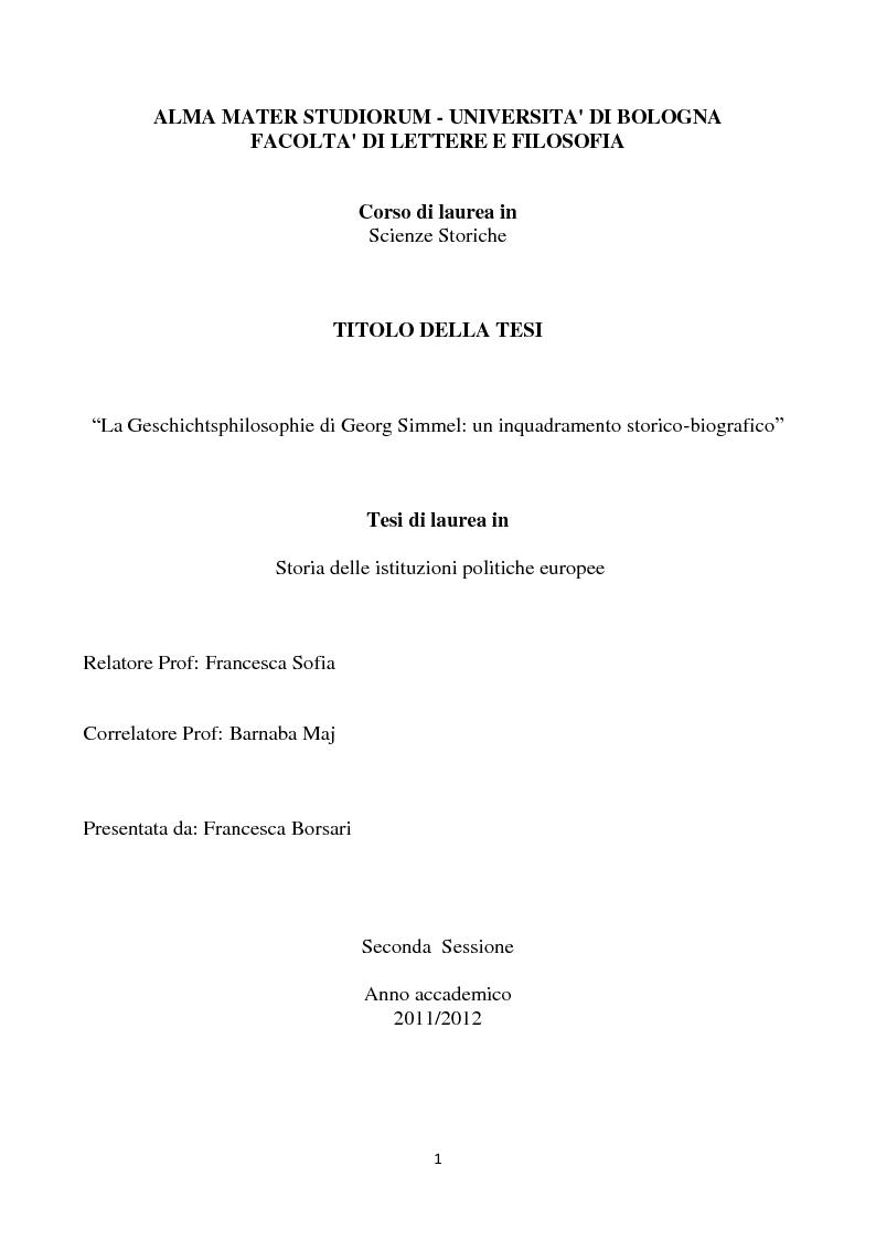 Anteprima della tesi: La Geschichtsphilosophie di Georg Simmel: un inquadramento storico-biografico, Pagina 1