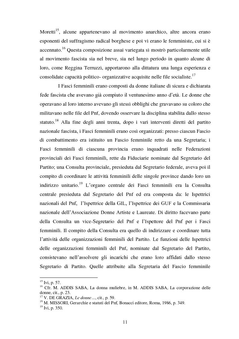 Anteprima della tesi: Le Donne, le Organizzazioni e le Politiche Femminili durante il Fascismo., Pagina 10