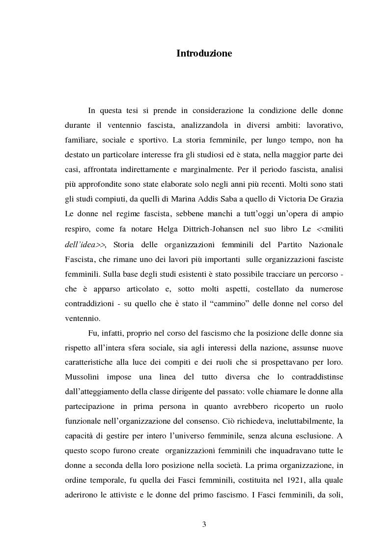 Anteprima della tesi: Le Donne, le Organizzazioni e le Politiche Femminili durante il Fascismo., Pagina 2