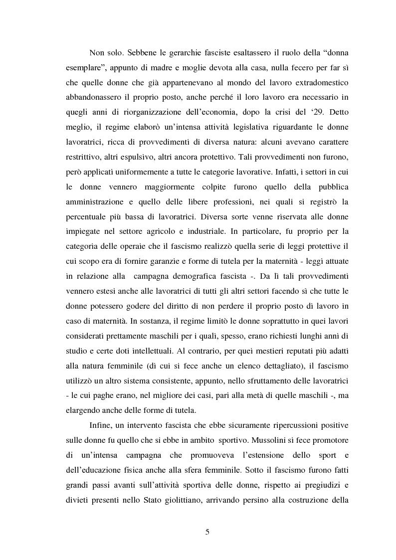Anteprima della tesi: Le Donne, le Organizzazioni e le Politiche Femminili durante il Fascismo., Pagina 4