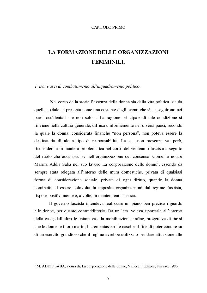 Anteprima della tesi: Le Donne, le Organizzazioni e le Politiche Femminili durante il Fascismo., Pagina 6