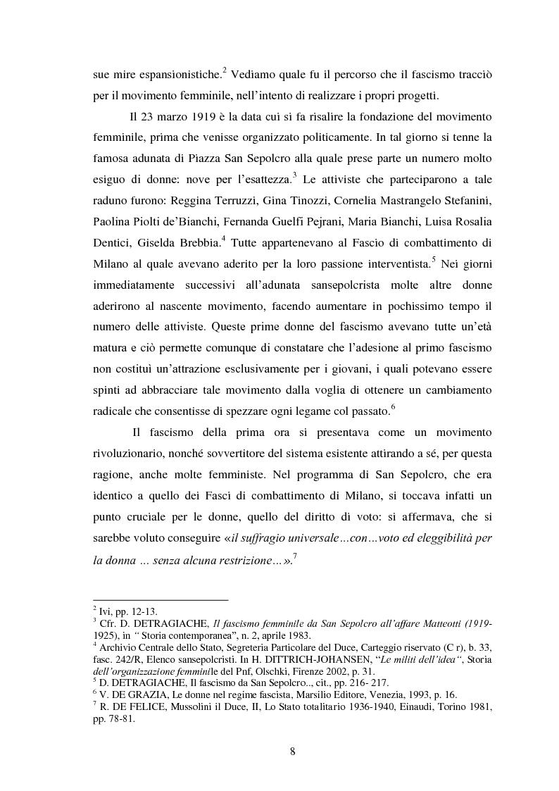 Anteprima della tesi: Le Donne, le Organizzazioni e le Politiche Femminili durante il Fascismo., Pagina 7