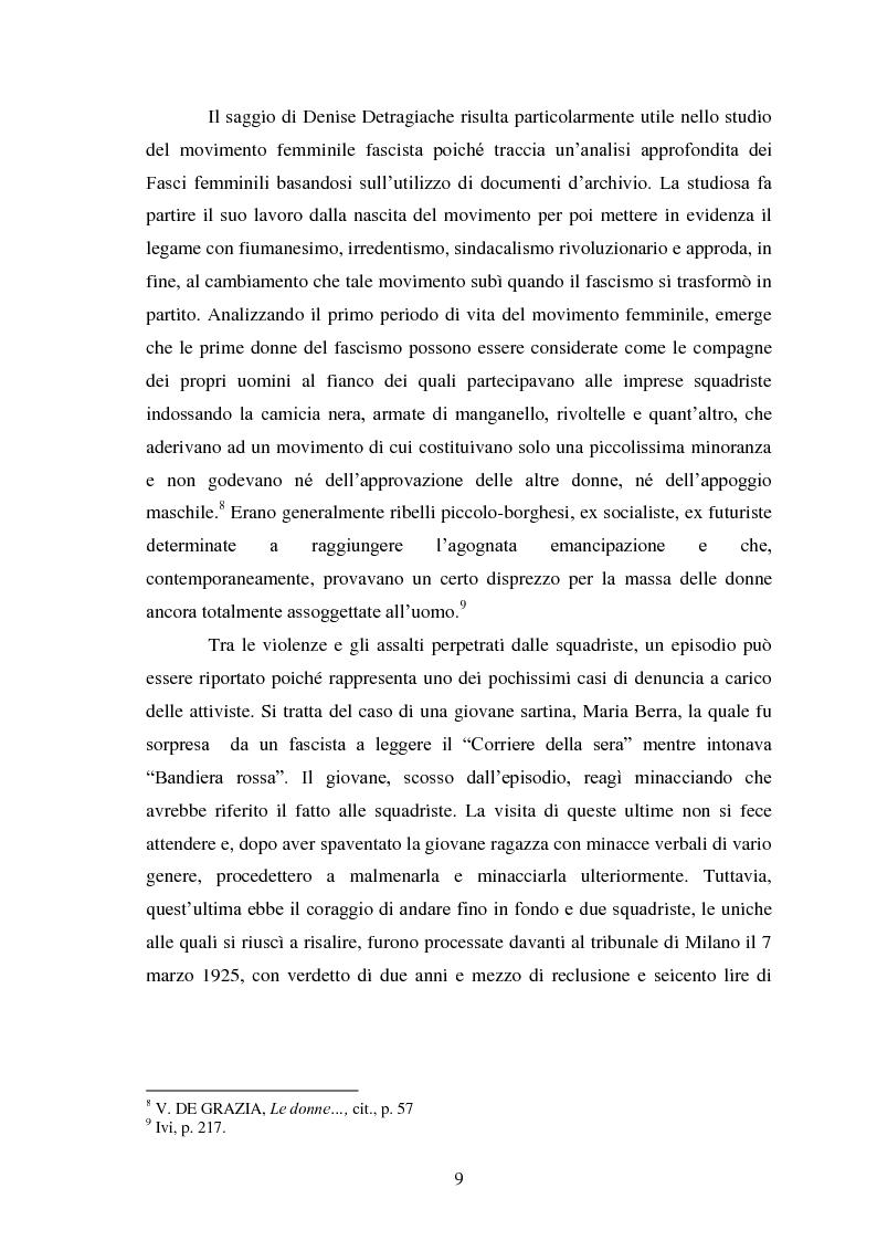 Anteprima della tesi: Le Donne, le Organizzazioni e le Politiche Femminili durante il Fascismo., Pagina 8