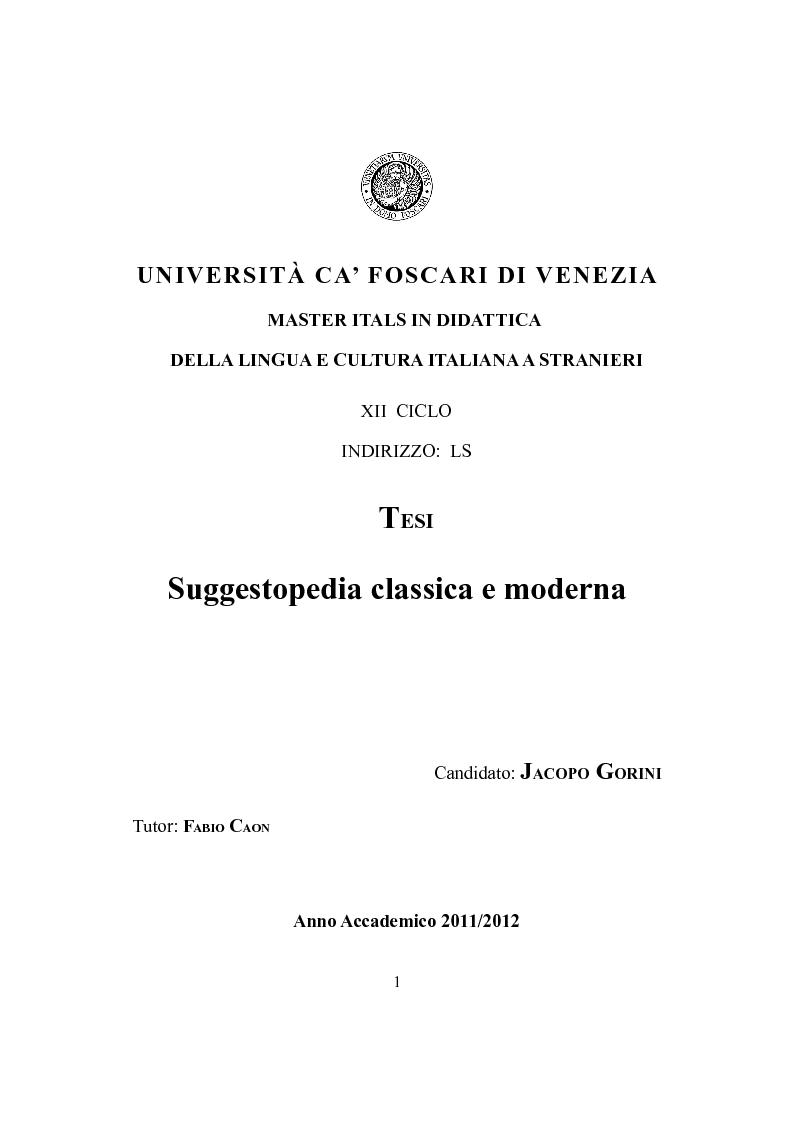 Anteprima della tesi: Suggestopedia classica e moderna, Pagina 1