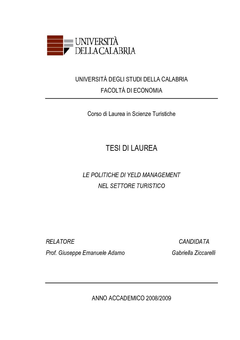 Anteprima della tesi: Le Politiche di Yeld Management nel Settore Turistico, Pagina 1