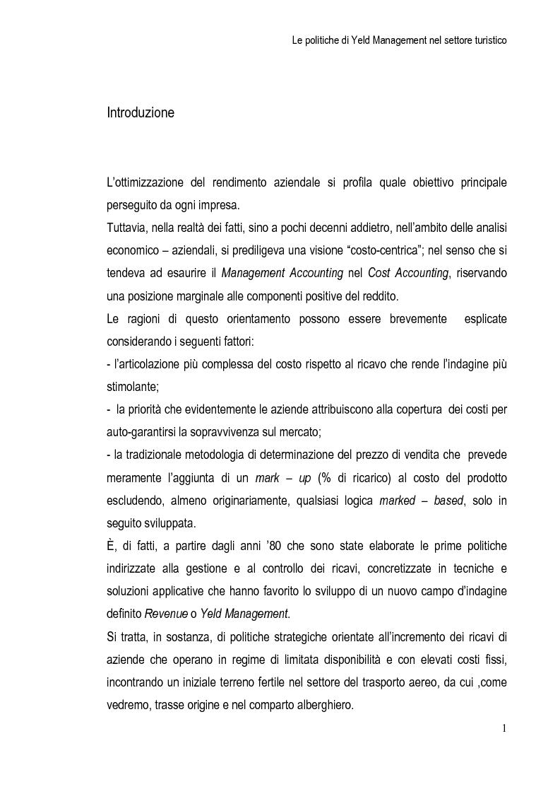 Anteprima della tesi: Le Politiche di Yeld Management nel Settore Turistico, Pagina 2