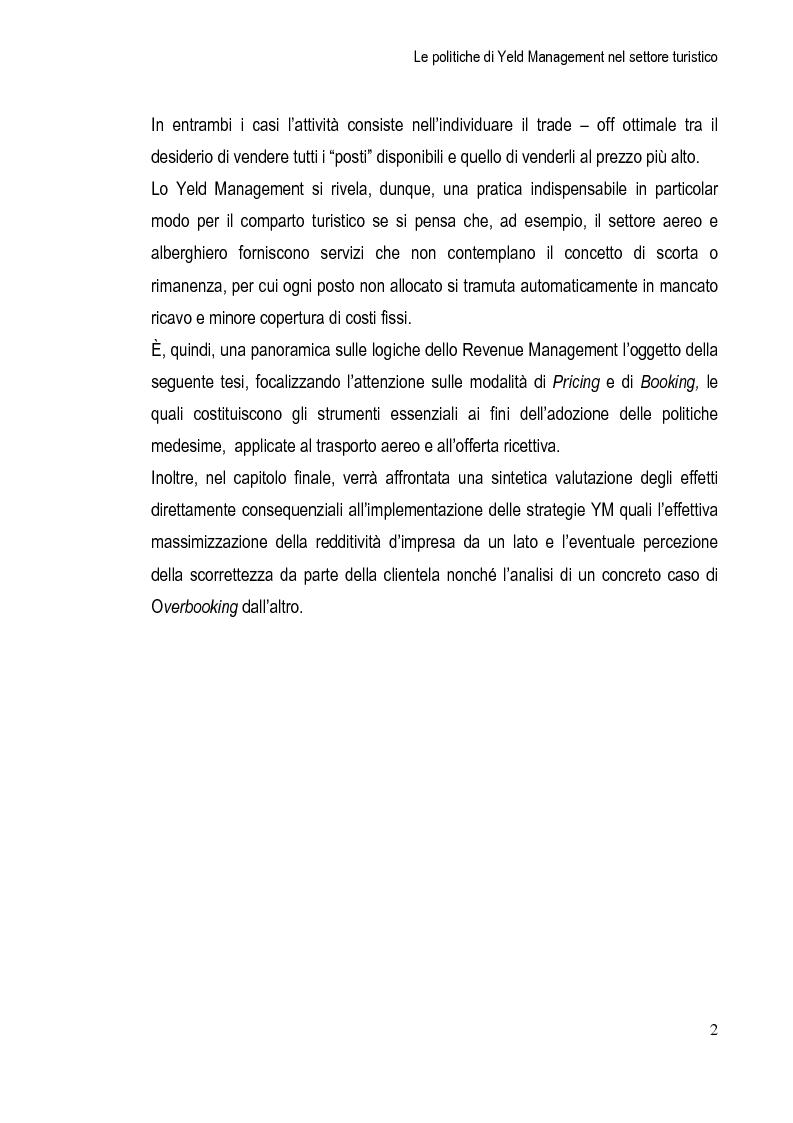 Anteprima della tesi: Le Politiche di Yeld Management nel Settore Turistico, Pagina 3
