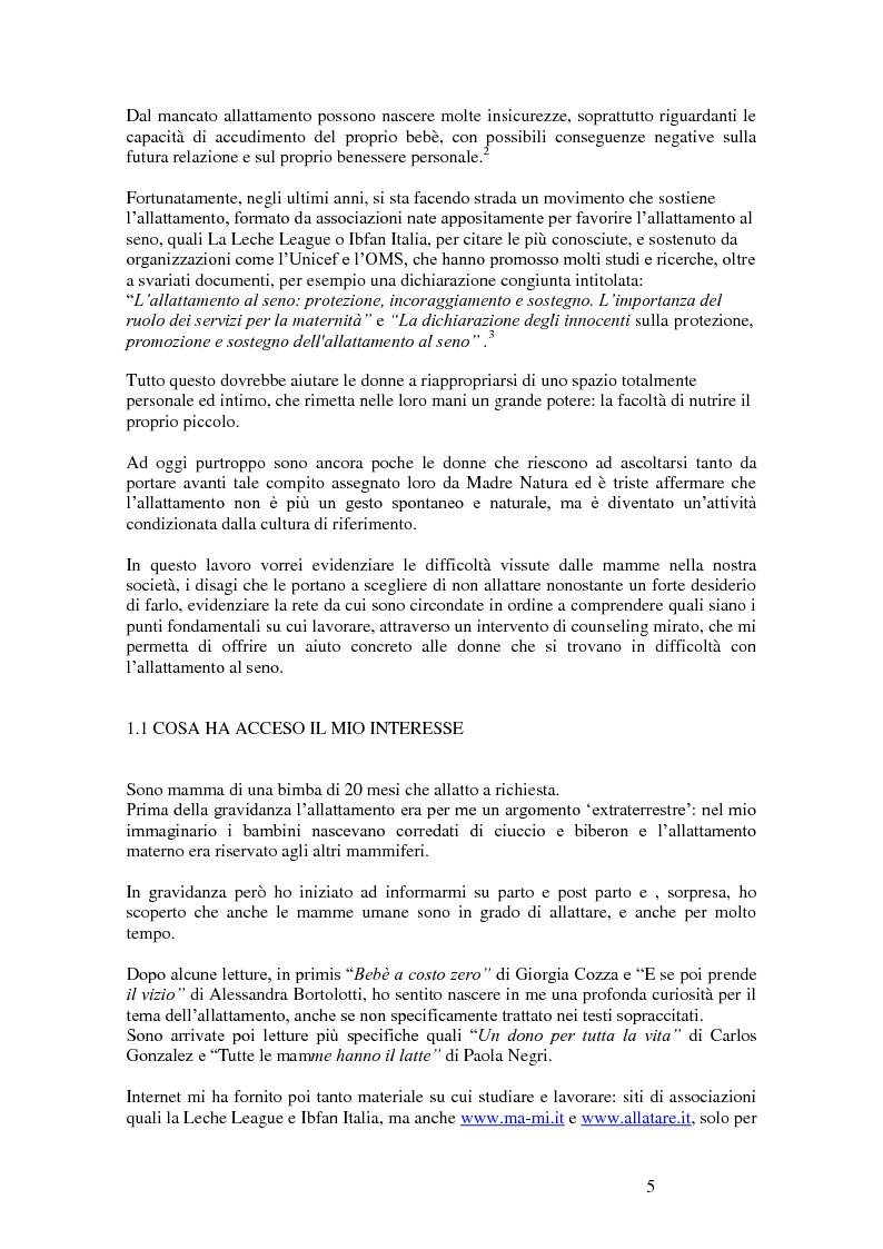 Anteprima della tesi: L'intervento di counseling come sostegno all'allattamento materno, Pagina 3