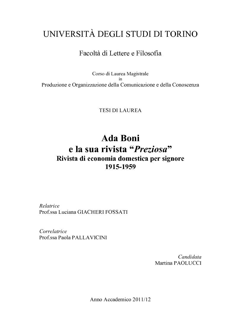 Anteprima della tesi: Ada Boni e la sua rivista ''Preziosa''. Rivista di economia domestica per signore (1915-1959), Pagina 1