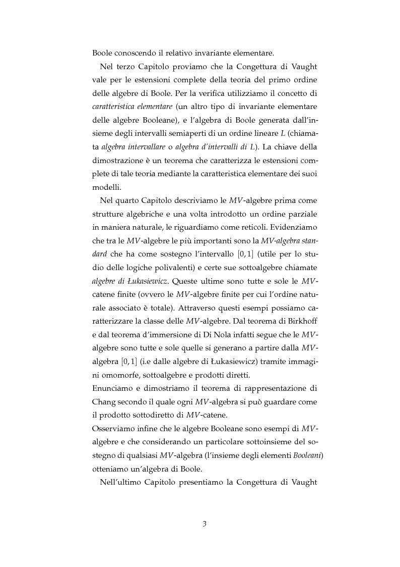 Anteprima della tesi: La Congettura di Vaught per le algebre di Boole e le MV-algebre, Pagina 4