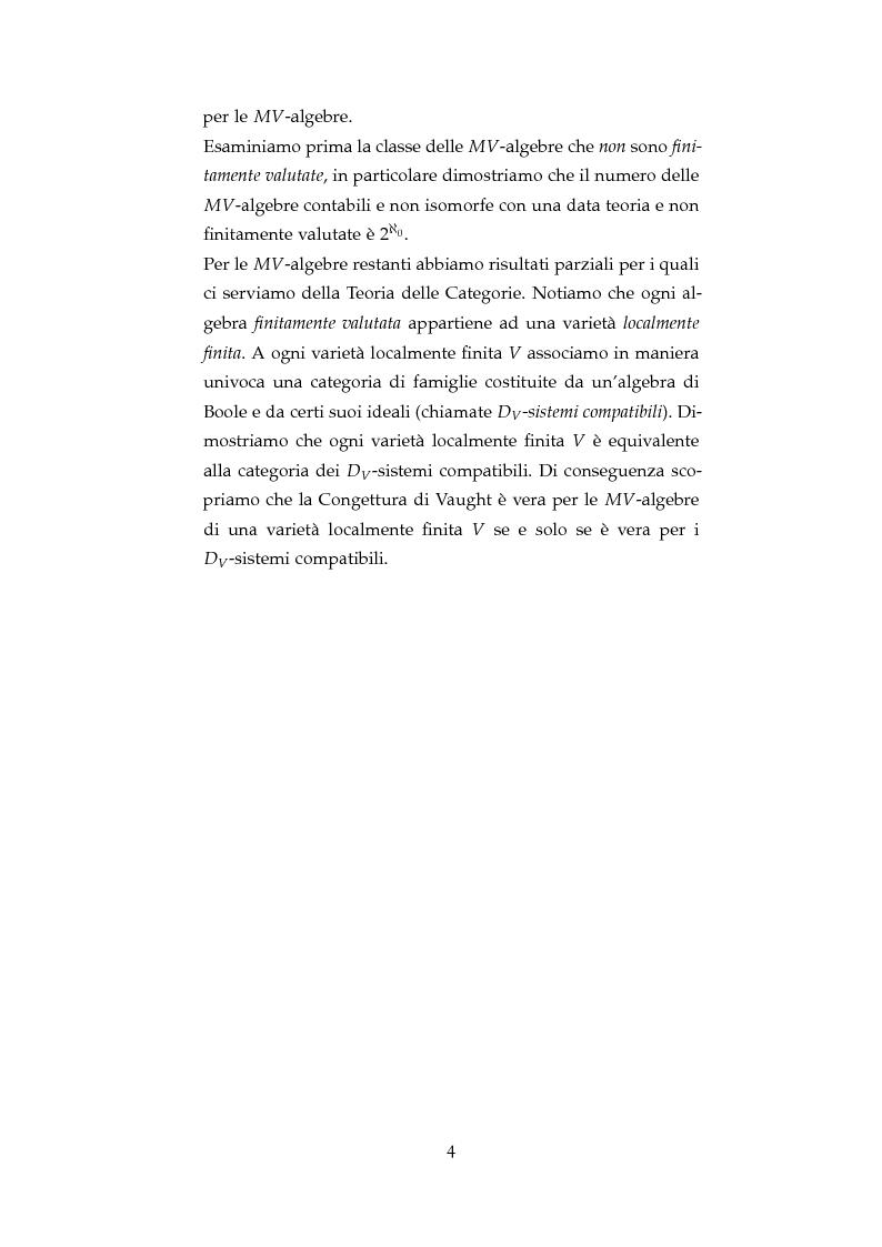 Anteprima della tesi: La Congettura di Vaught per le algebre di Boole e le MV-algebre, Pagina 5