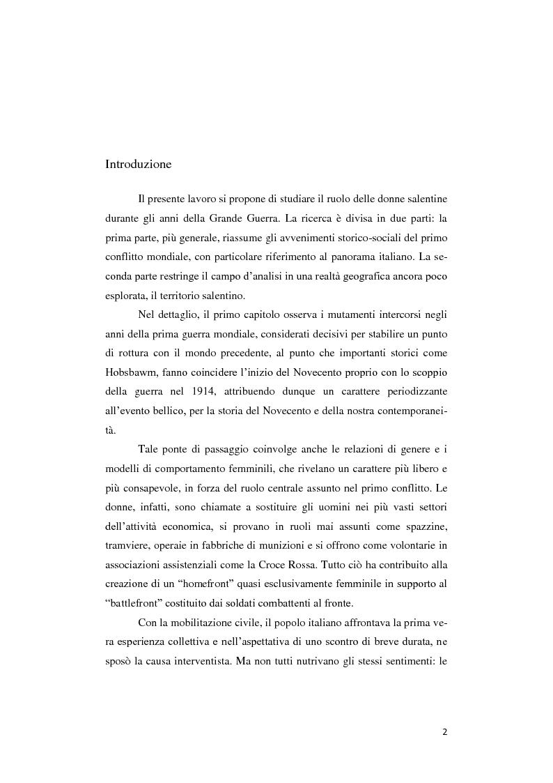 Anteprima della tesi: Donne lontano dal Fronte: la Grande guerra attraverso il «Corriere Meridionale» (1915-1918), Pagina 2
