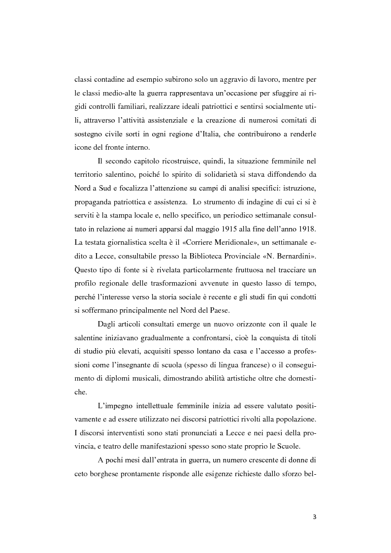 Anteprima della tesi: Donne lontano dal Fronte: la Grande guerra attraverso il «Corriere Meridionale» (1915-1918), Pagina 3