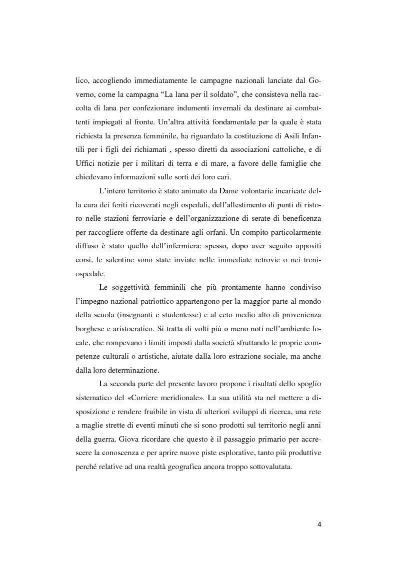 Anteprima della tesi: Donne lontano dal Fronte: la Grande guerra attraverso il «Corriere Meridionale» (1915-1918), Pagina 4
