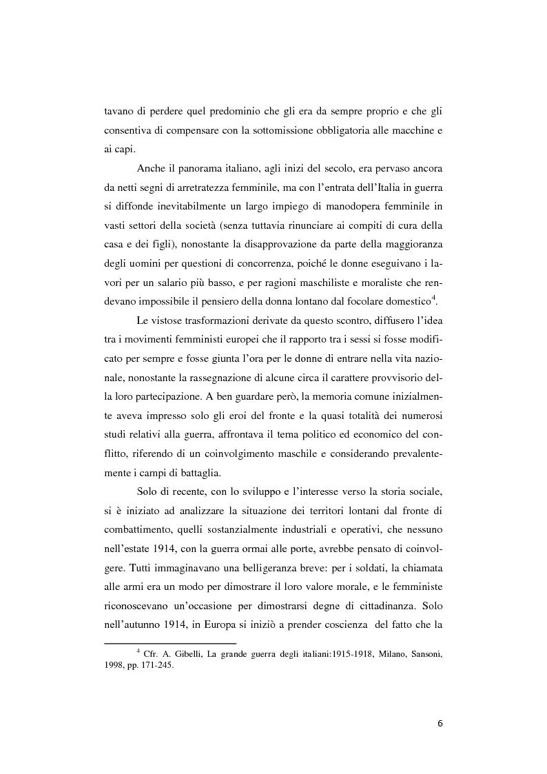 Anteprima della tesi: Donne lontano dal Fronte: la Grande guerra attraverso il «Corriere Meridionale» (1915-1918), Pagina 6