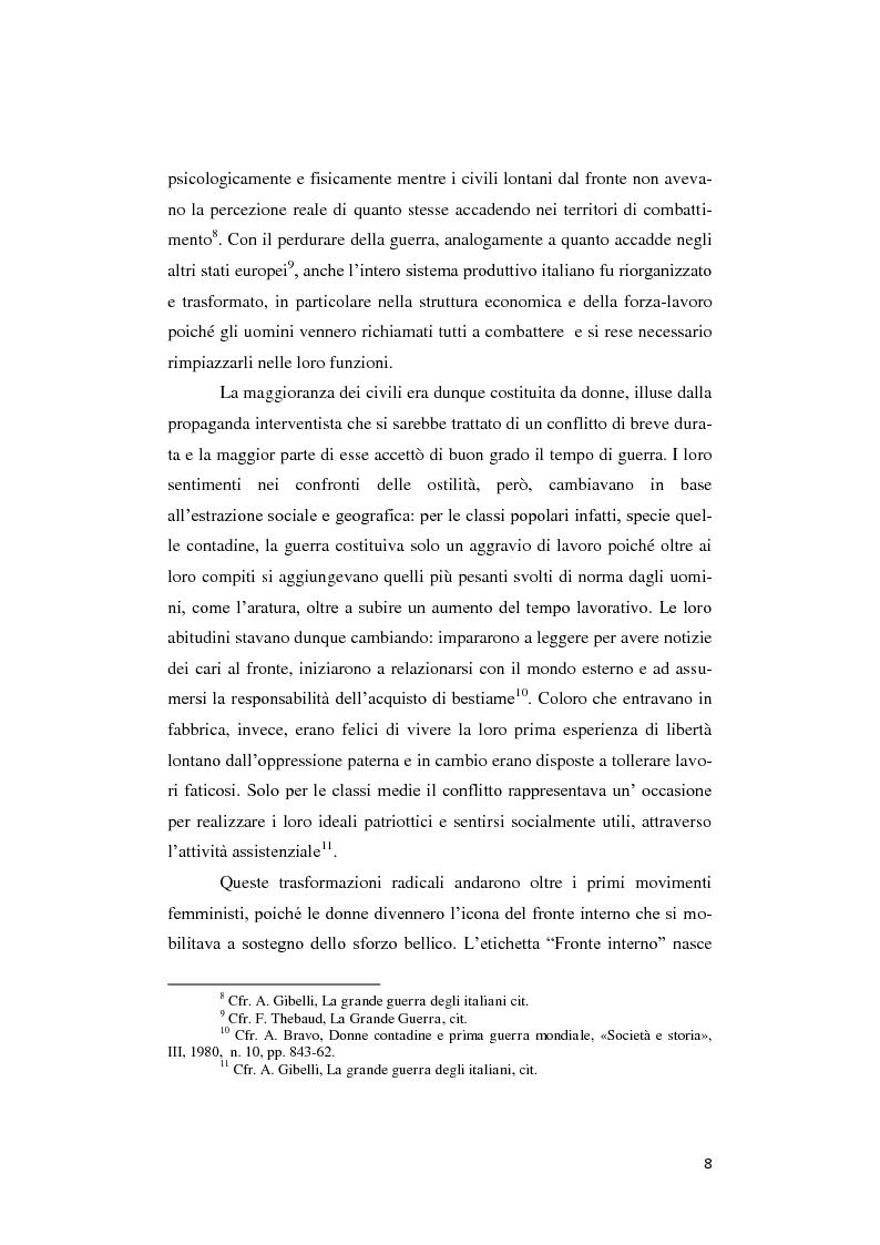 Anteprima della tesi: Donne lontano dal Fronte: la Grande guerra attraverso il «Corriere Meridionale» (1915-1918), Pagina 8