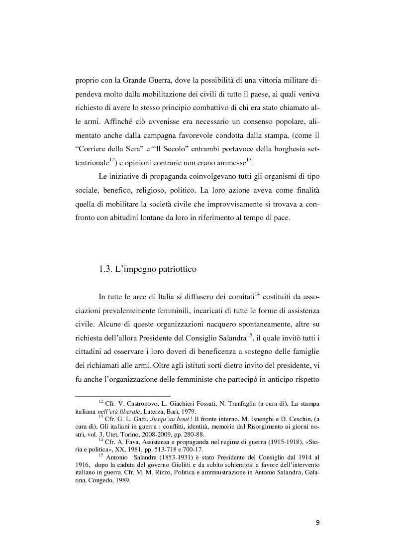 Anteprima della tesi: Donne lontano dal Fronte: la Grande guerra attraverso il «Corriere Meridionale» (1915-1918), Pagina 9