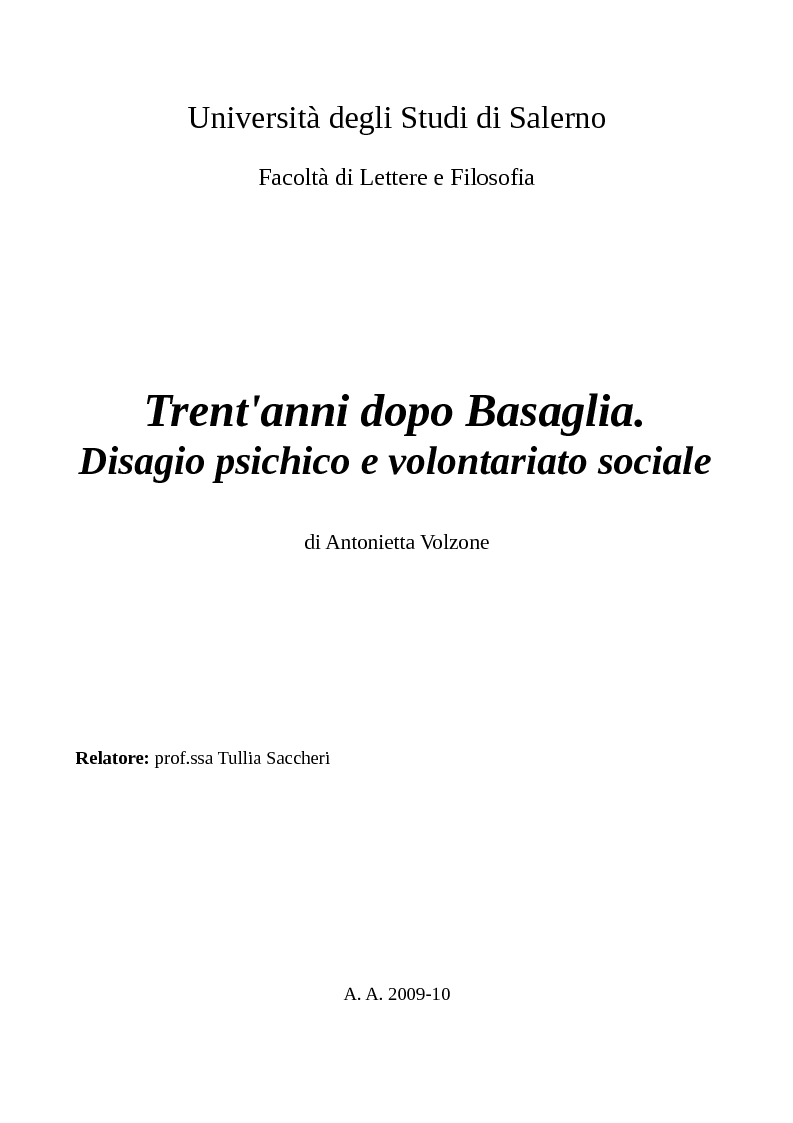 Anteprima della tesi: Trent'anni dopo Basaglia. Disagio psichico e volontariato sociale, Pagina 1