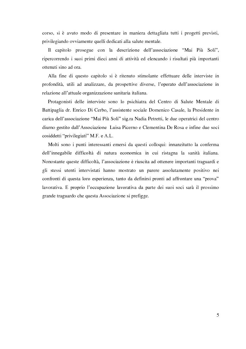Anteprima della tesi: Trent'anni dopo Basaglia. Disagio psichico e volontariato sociale, Pagina 4