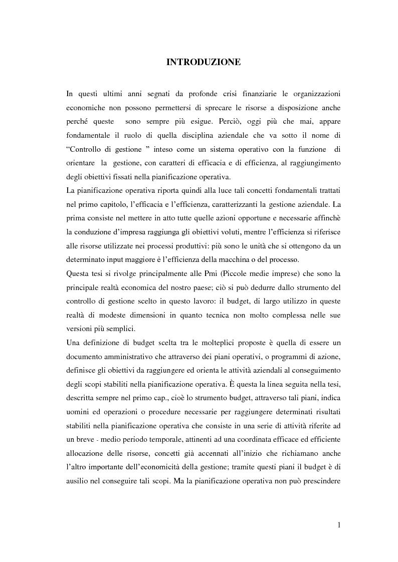 Anteprima della tesi: Gli strumenti del controllo di gestione: Il budget   , Pagina 2