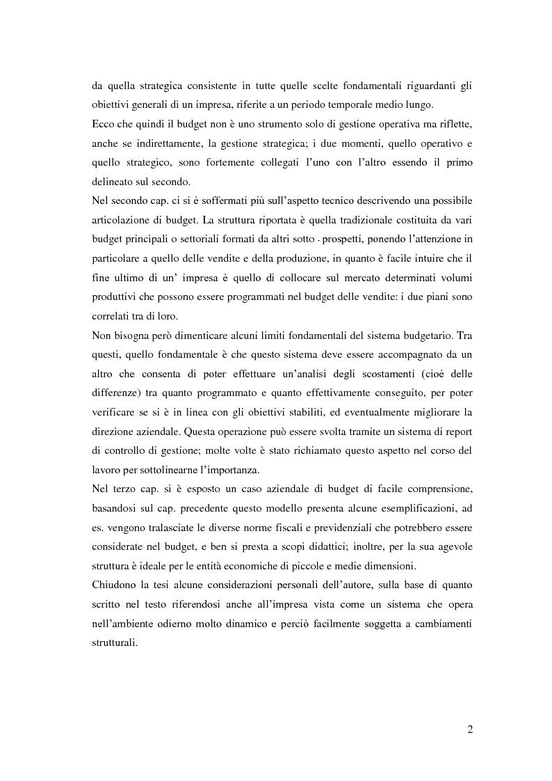 Anteprima della tesi: Gli strumenti del controllo di gestione: Il budget   , Pagina 3