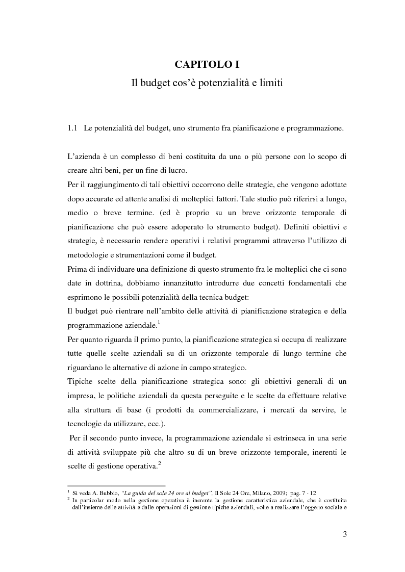Anteprima della tesi: Gli strumenti del controllo di gestione: Il budget   , Pagina 4