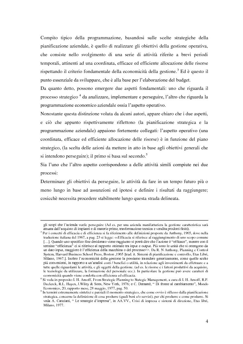 Anteprima della tesi: Gli strumenti del controllo di gestione: Il budget   , Pagina 5