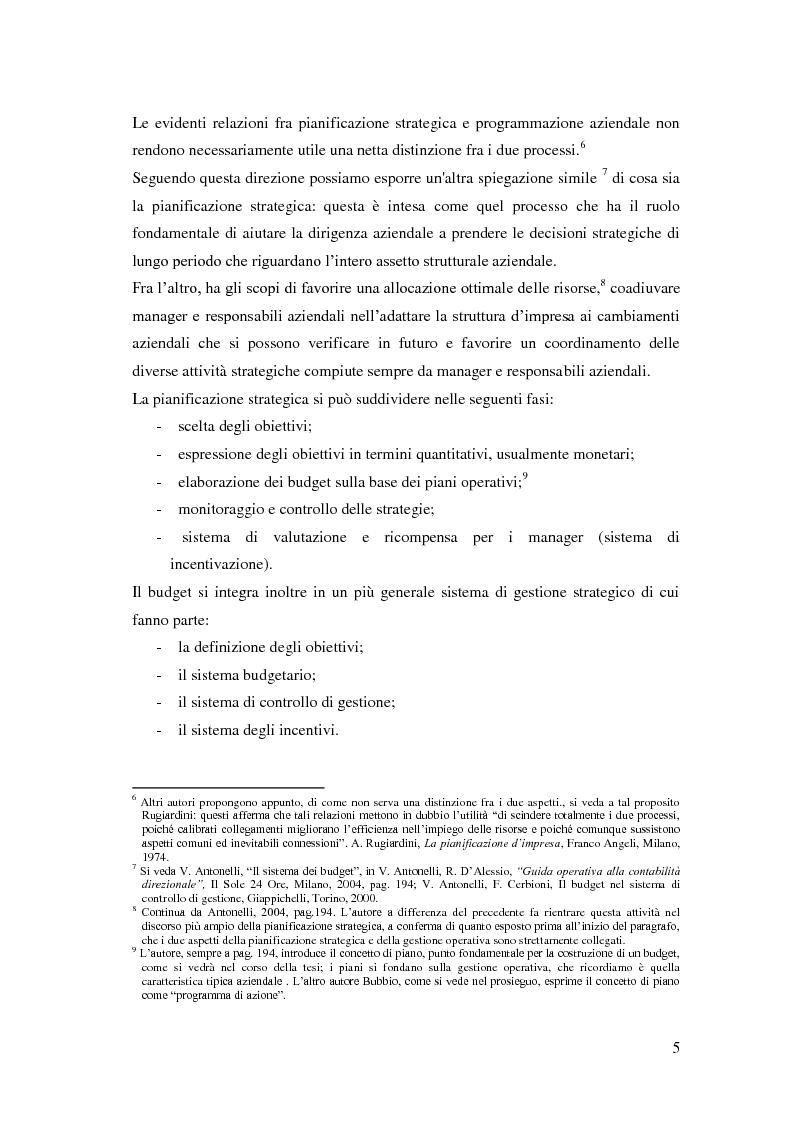 Anteprima della tesi: Gli strumenti del controllo di gestione: Il budget   , Pagina 6