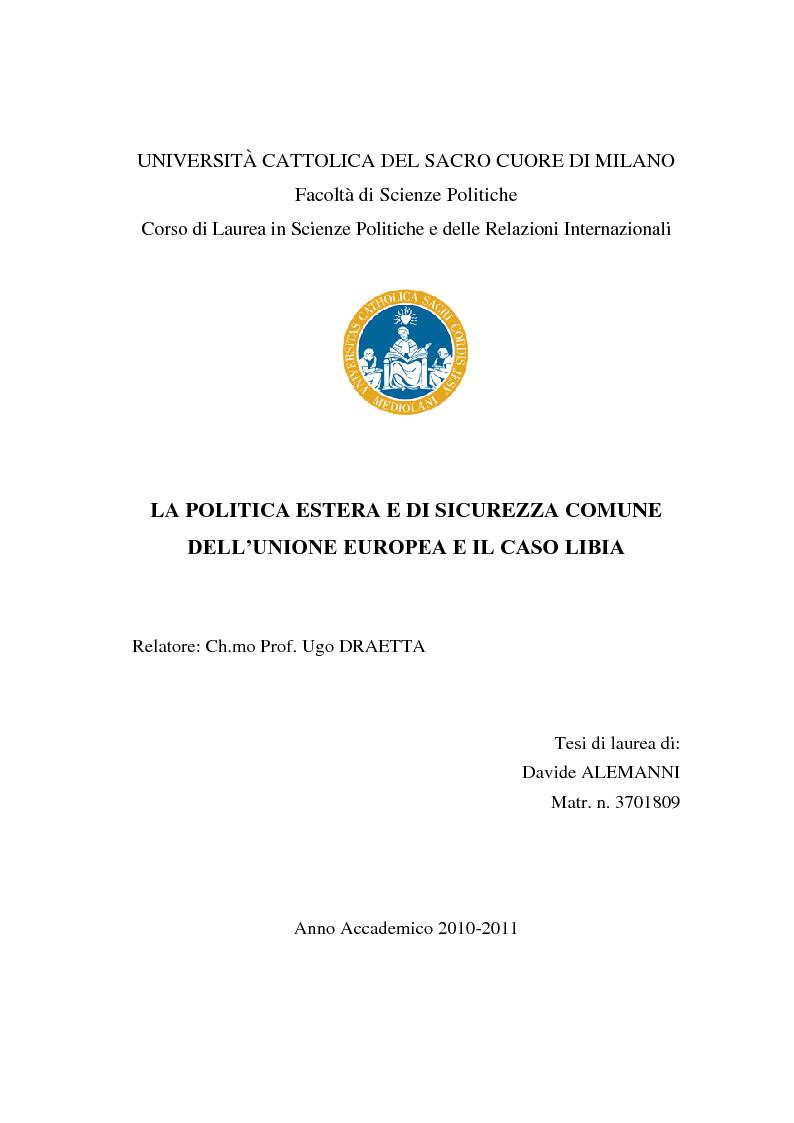 Anteprima della tesi: La politica estera e di sicurezza comune dell'Unione europea e il caso Libia, Pagina 1