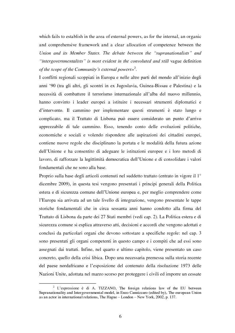 Anteprima della tesi: La politica estera e di sicurezza comune dell'Unione europea e il caso Libia, Pagina 3
