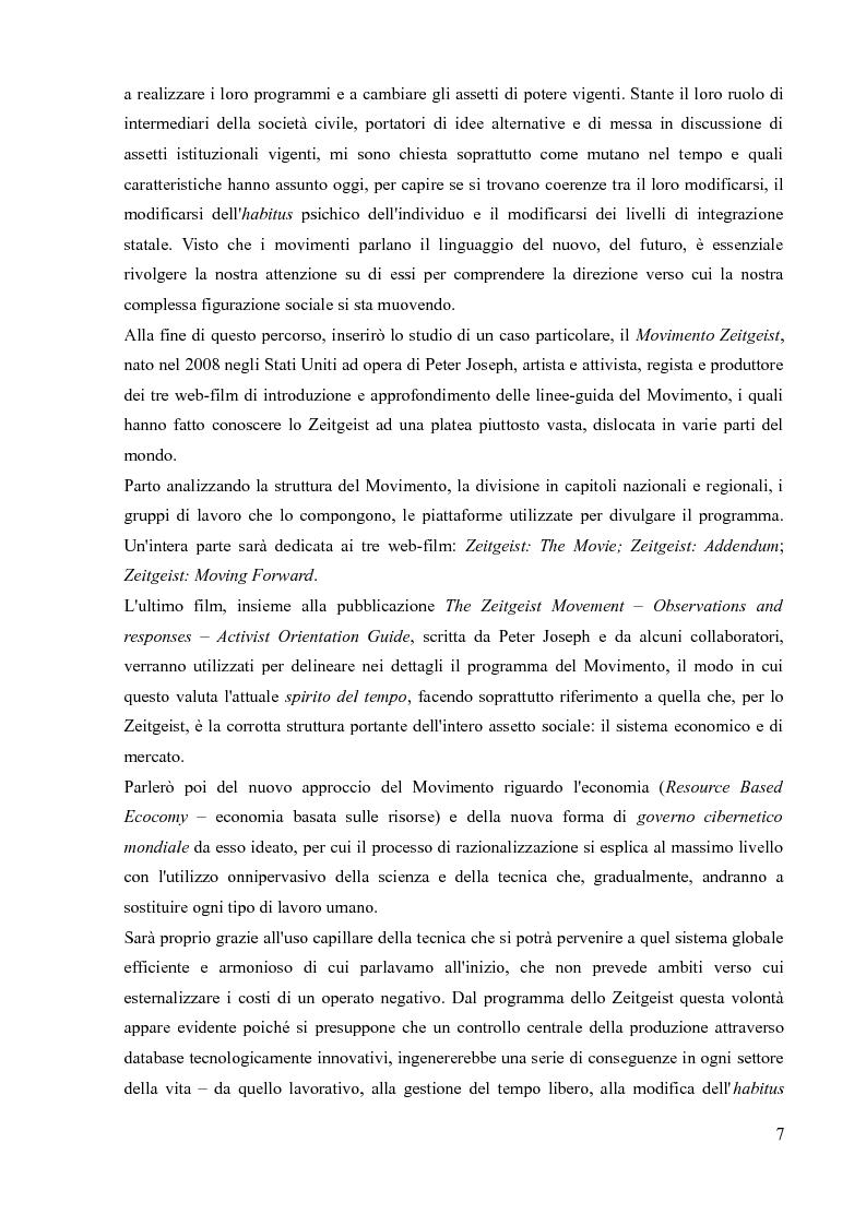 Anteprima della tesi: La sociologia processuale nello studio dei movimenti sociali contemporanei. Il caso Zeitgeist., Pagina 5