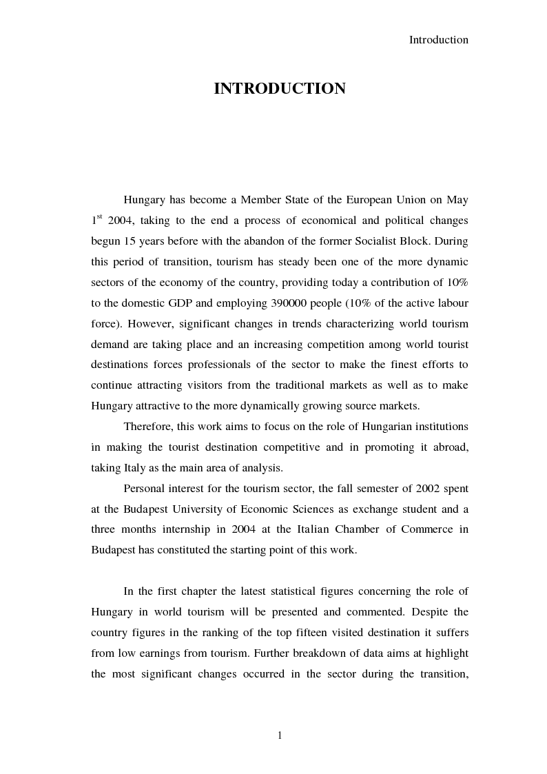 Anteprima della tesi: Hungary as a tourist product:  theoretical and promotional issues , Pagina 2