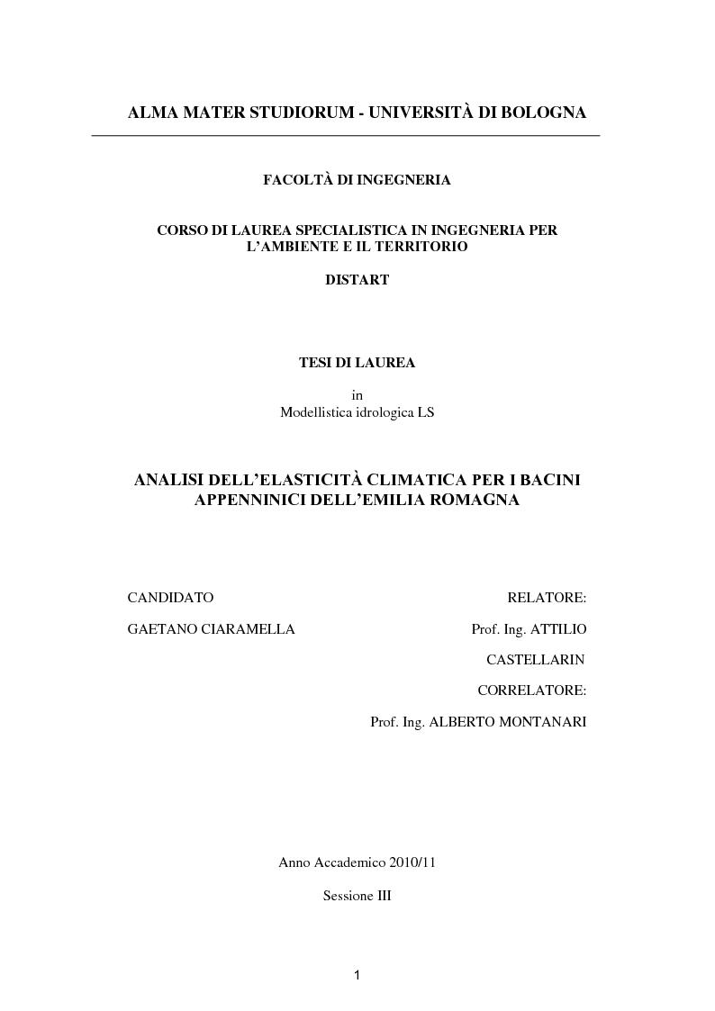 Anteprima della tesi: Analisi dell'elasticità climatica per i bacini appenninici dell'Emilia Romagna, Pagina 1