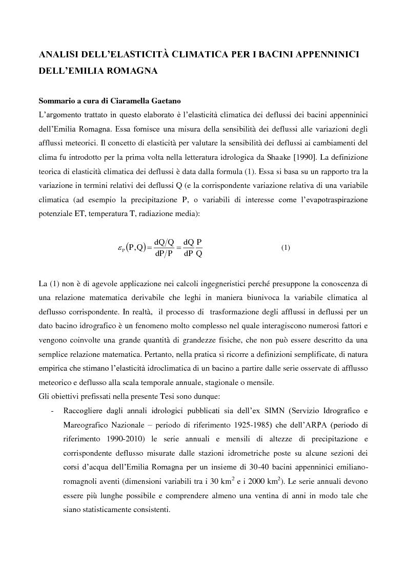 Anteprima della tesi: Analisi dell'elasticità climatica per i bacini appenninici dell'Emilia Romagna, Pagina 2