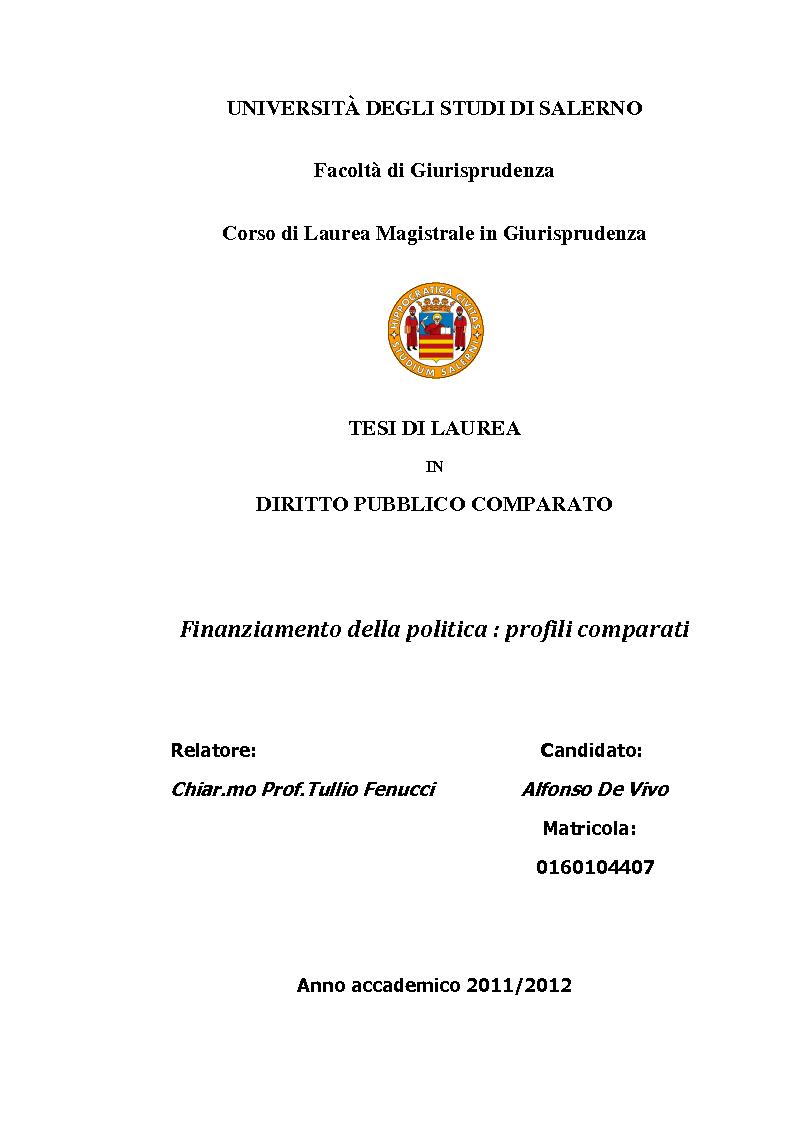 Anteprima della tesi: Finanziamento della politica : profili comparati, Pagina 1