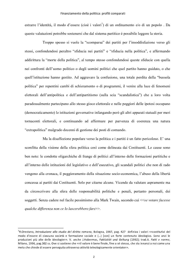 Anteprima della tesi: Finanziamento della politica : profili comparati, Pagina 3