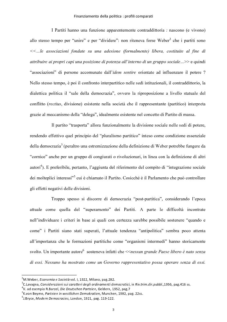 Anteprima della tesi: Finanziamento della politica : profili comparati, Pagina 4